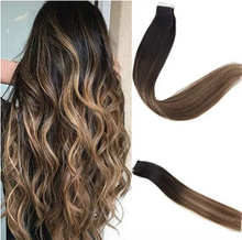 Load image into Gallery viewer, 2/6/27 Balayage Brown and Blonde Ombre Human Hair Tape In Extensions