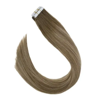 #8A/18B/8A Highlighted Ash Blonde Human Hair Tape In Extensions