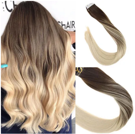 4/613 Balayage Dark Brown Mixed Bleach Blonde Human Hair Tape In Extensions