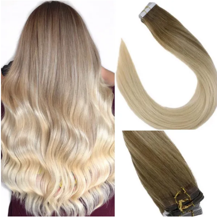 8/60 Brown to Platinum Blonde Balayage Human Hair Tape In Extensions