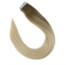 Load image into Gallery viewer, 8/60 Brown to Platinum Blonde Balayage Human Hair Tape In Extensions