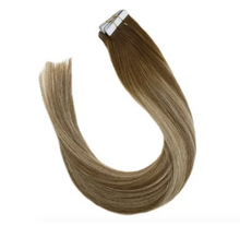 Load image into Gallery viewer, 6/22/6 Medium brown Highlighted Blonde Human Hair Tape In Extensions