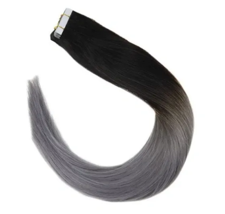 #1b/grey Ombre Black to Blue Grey Human Hair Tape In Extensions