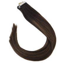 Load image into Gallery viewer, 2/2M6 Balayage Brown Highlights Human Hair Tape In Extensions