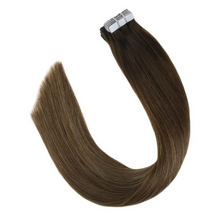 Load image into Gallery viewer, #4/7/12 Brown Mixed Blonde Tape in Balayage Human Hair Extensions