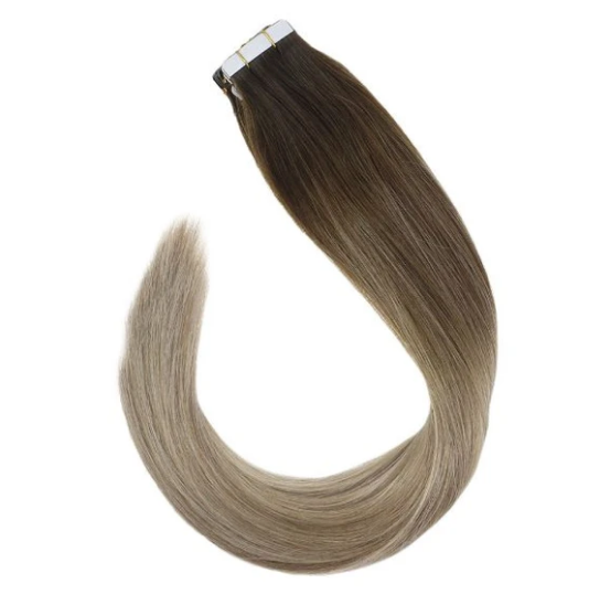 #4/14/22 Dark Brown Mixed Blonde Highlights Tape In Human Hair Extensions