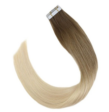 Load image into Gallery viewer, #6M613 Balayage Brown and Bleach Blonde Ombre Tape In Human Hair Extensions