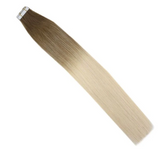 #6M613 Balayage Brown and Bleach Blonde Ombre Tape In Human Hair Extensions