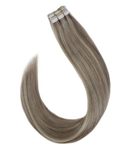 #P20/60 Blonde Highlighted Bleach Blonde Tape In Human Hair Extensions