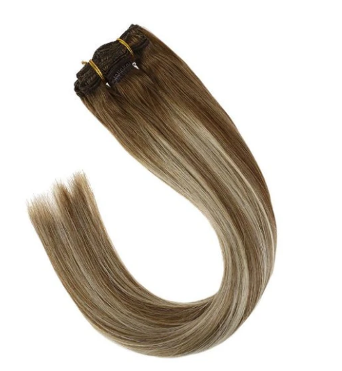 #8/22/8 Light Brown Mixed Blonde Highlights Human Hair Clip In Extensions