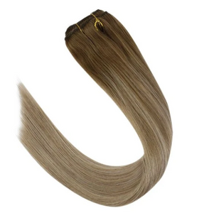 #6/18/22 Brown with Blonde Human Hair Clip In Extensions