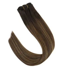 #2/2/6 Balayage Brown Highlights Human Hair Clip In Extensions