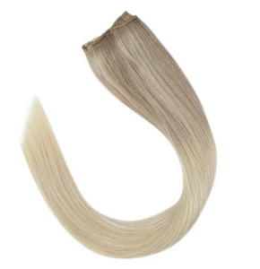 #Nordic Balayage Blonde Human Hair Clip In Extensions