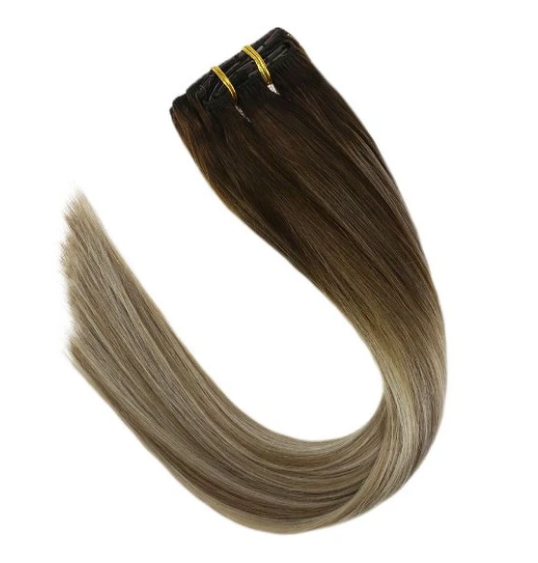 #4/16/60 Ash Brown Balayage Human Hair Clip In Extensions
