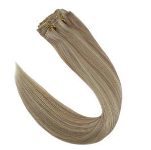 #P18/613 Blonde Highlights Human Hair Clip In Extensions