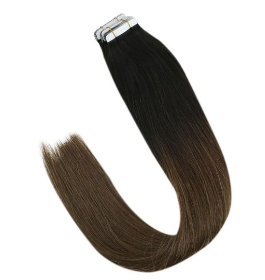 #1b/4 Black to Dark Brown Ombre Tape In Human Hair Extensions