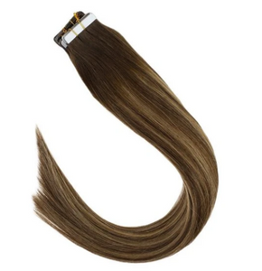 #4/27/4 Balayage Brown Highlighted Caramel Blonde Human Hair Tape In Extensions