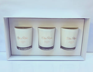 Mini candle trio pack. with our 3 most popular frangrances. •Sweet Pea & Jasmine • Black Raspberry  • Vanilla