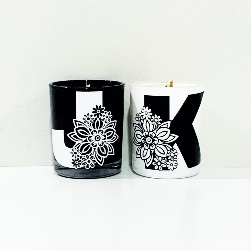 Personalised Floral Letter Candle