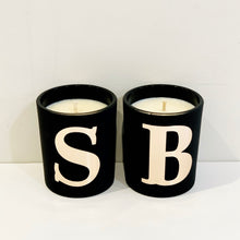 Load image into Gallery viewer, Monogram matte black & rose gold candle.