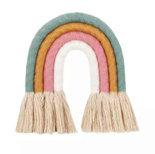 Load image into Gallery viewer, Handmade macrame rainbow wall hanging.