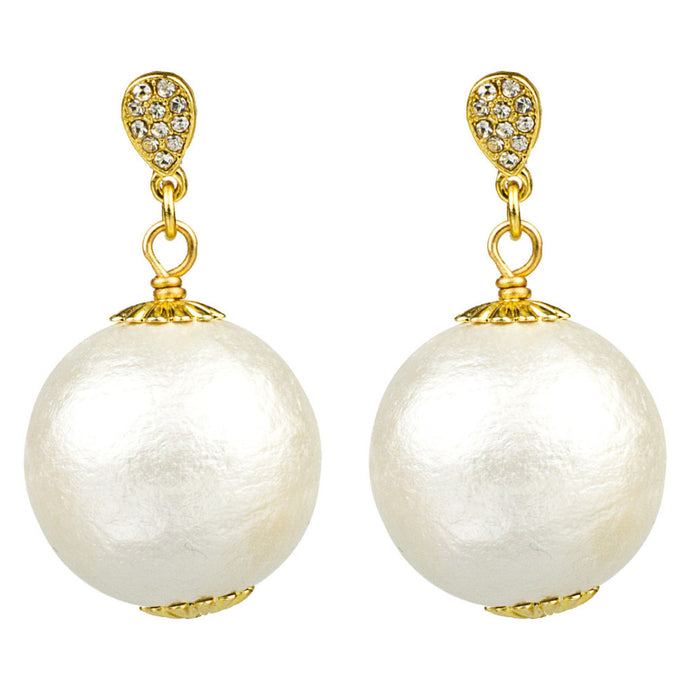 Pave & Cotton Pearl Drop Earrings, 20mm (2)