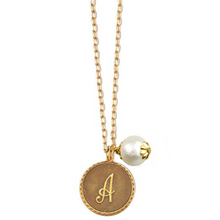 Mini Coin Initial Necklace with Pearl