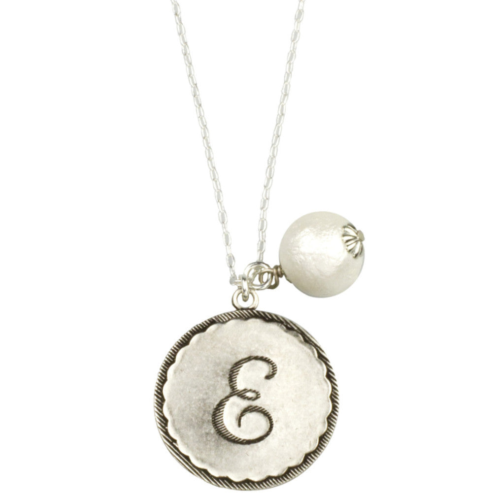 Sorority Gal Initial & Pearl Necklace