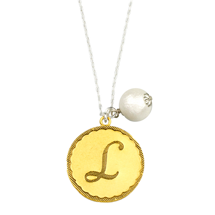Sorority Gal Initial & Pearl Necklace, Two-Tone