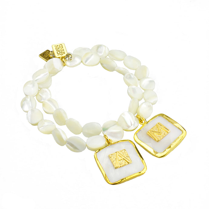 Mother of Pearl Bezel Set Initial Bracelet (M2)
