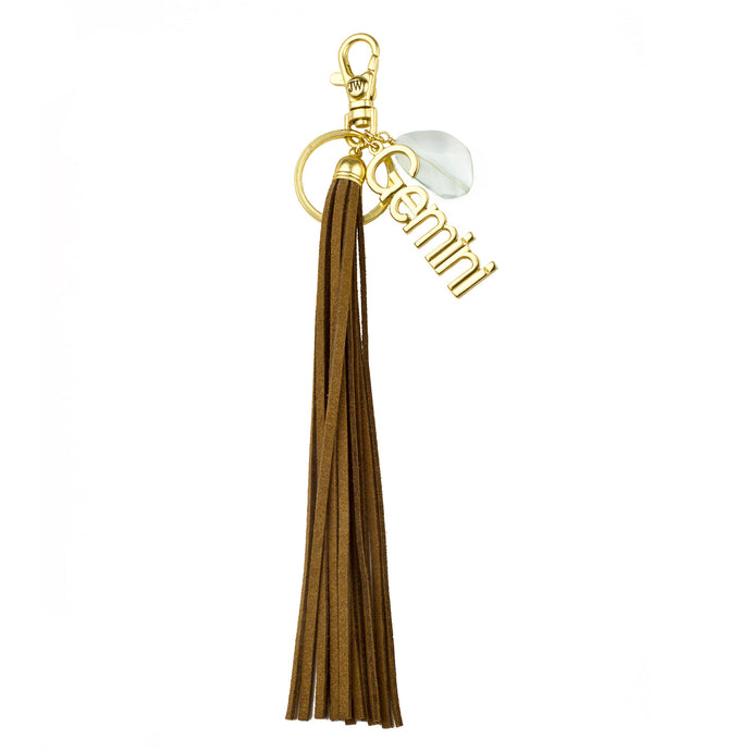 Gemini Vegan Leather Tassel Bag Charm (M2)