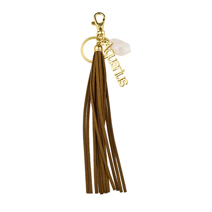 Aquarius Vegan Leather Tassel Bag Charm (M2) NOW $6.75