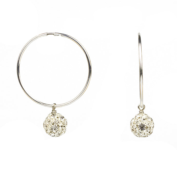 Infinity Crystal Hoop Earrings in Silver (M2)