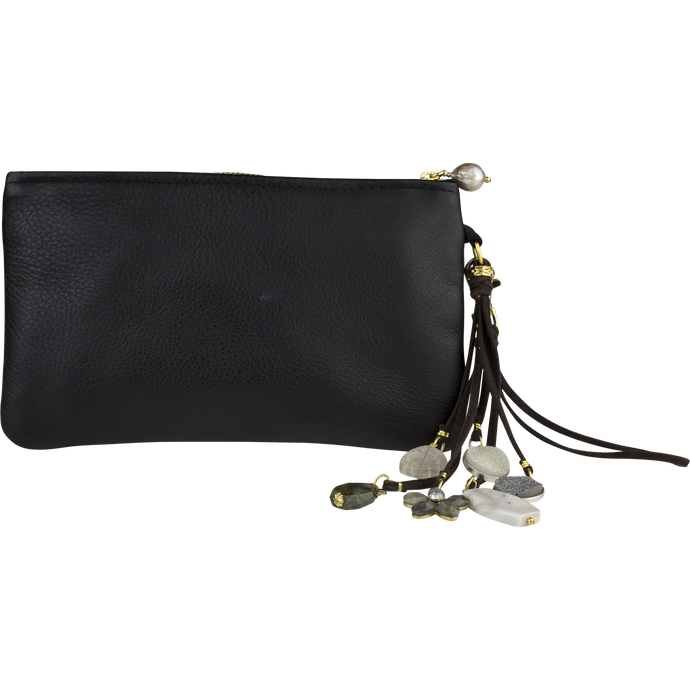 Leather Fringe Clutch, Night Moon