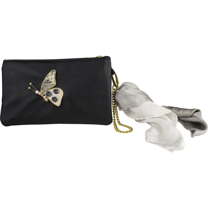 Leather Scarf Clutch, Greige Butterfly