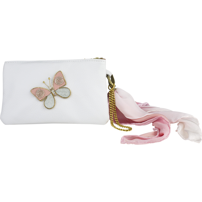 Leather Scarf Clutch,  Blush Butterfly