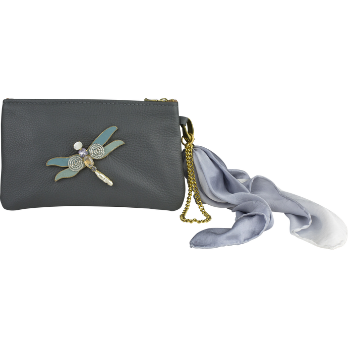 Leather Scarf Clutch, Teal Dragonfly