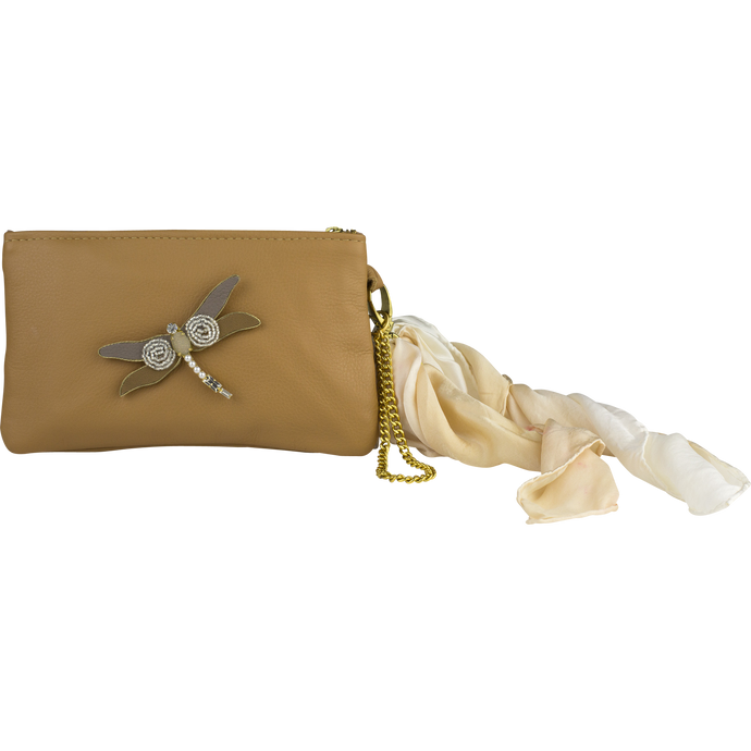 Leather Scarf Clutch, Tan Dragonfly