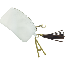 Initial Charm Coin Purse with Tassel, White