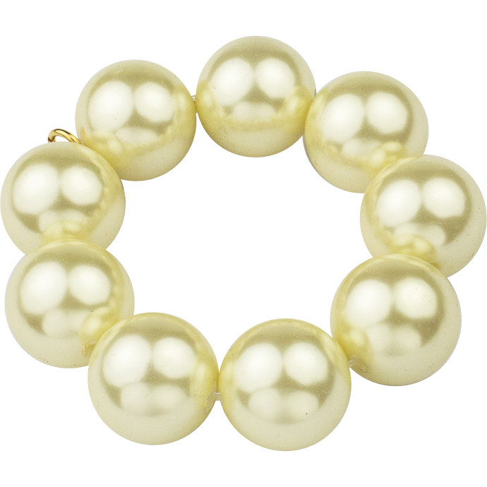 Yellow Pearl Stretch Bauble Bracelet, M2