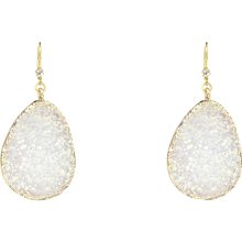 "2.5"" White & Gold Druzy Drop Earring, M2"