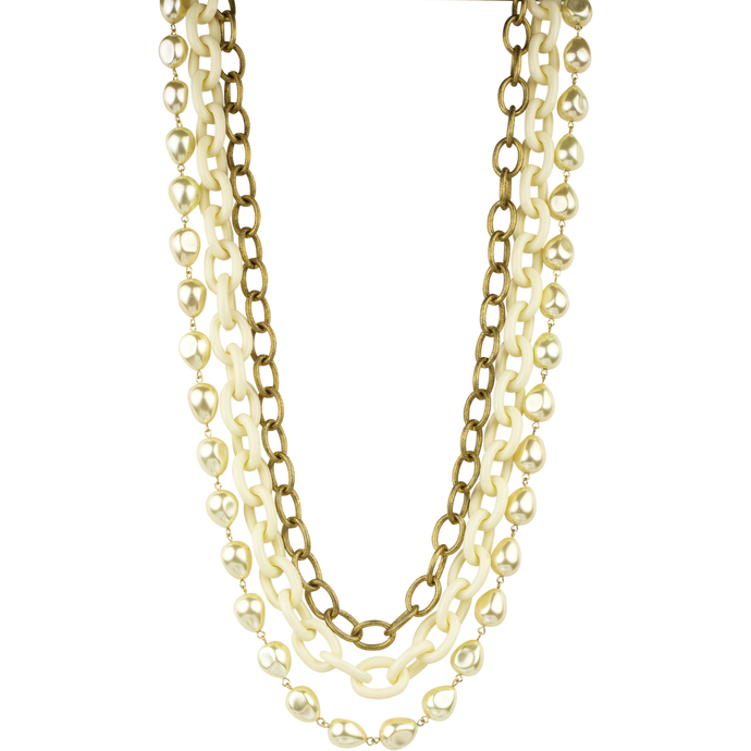 Baroque pearl three strand long  necklace