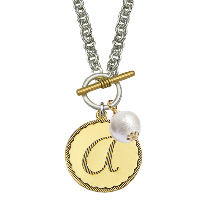 Mixed Metal Sorority Gal Necklace with Pearl