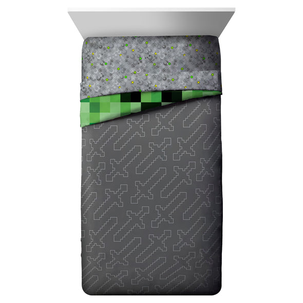 View 3 of Minecraft Creeper Twin Bed in a Bag photo.