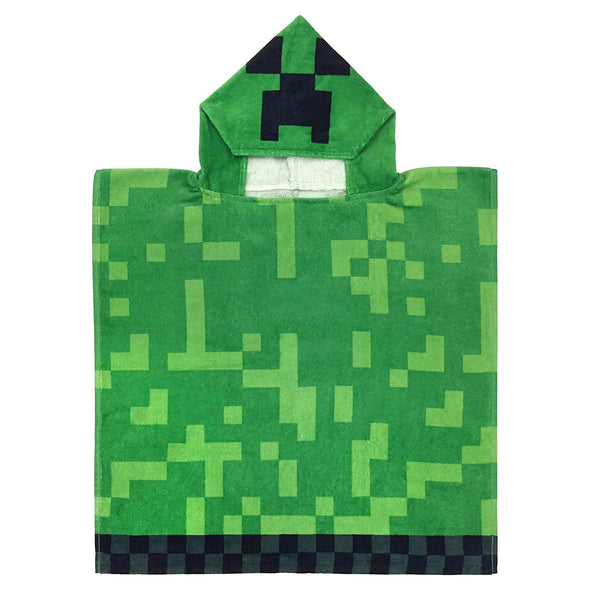 View 1 of Minecraft Creeper Youth Hooded Bath Towel photo.