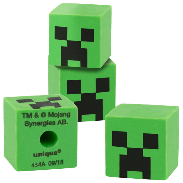View 1 of Minecraft Creeper Pencil Topper Eraser, 4-Pack photo.