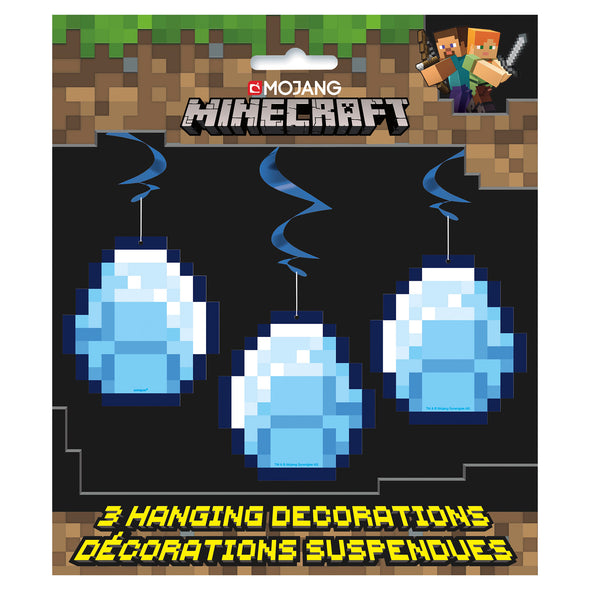 View 2 of Minecraft Diamond Hanging Swirl Decoration, 3-Pack photo.