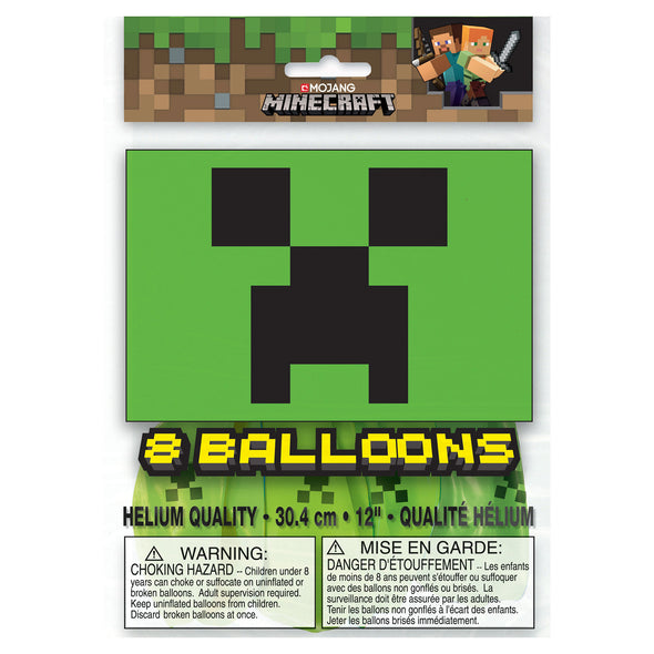 View 2 of Minecraft Creeper Latex Balloon, 8-Pack photo.