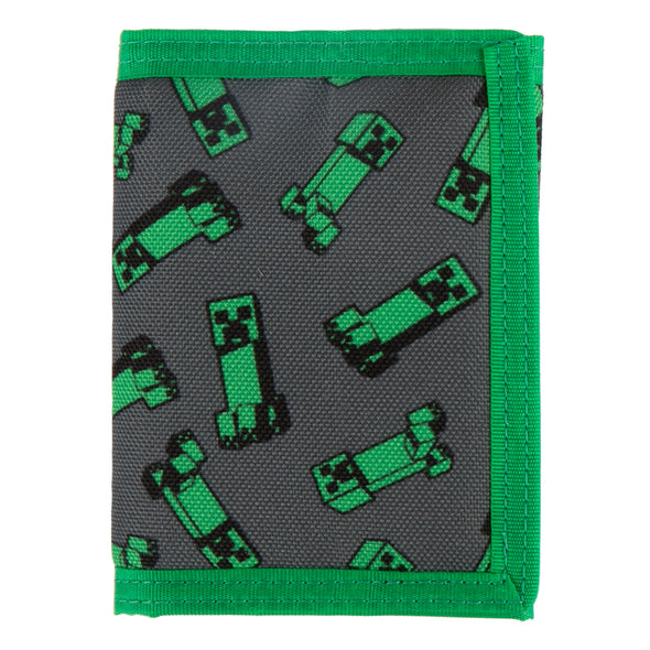 View 1 of Minecraft Creeper Crowd Tri-Fold Wallet photo.