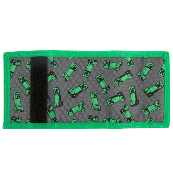 View 2 of Minecraft Creeper Crowd Tri-Fold Wallet photo.